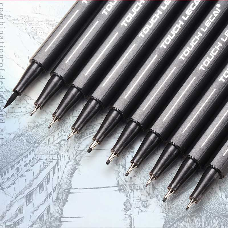 Pigment Liner Micron Pen Neelde Soft Brush Drawing Pens 005 01 02 03 04 05 08 1.0 Brush Art Markers Handwriting Supplies