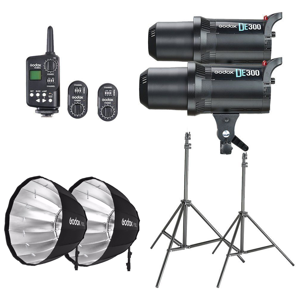 2x Godox DE300 Studio Flash + Portable P90L 90CM Deep Parabolic Softbox + FT-16 Trigger + Light Stand Kit godox ad360 camera outdoor shooting flash kit ad 360 360w flash ft 16 wireless trigger ad s17 diffuser 60 60cm softbox