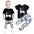 Bebé Niño Niña Ropa de Verano 2016 de la Marca Kids Juegos Monstruos Camiseta + Pantalones de Graffiti 2 unids Set Moda Traje de Ropa deportiva de Meninas