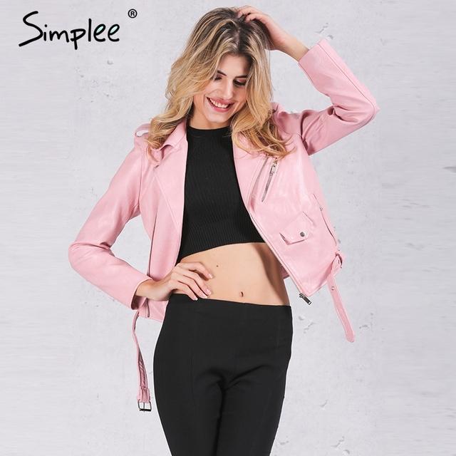 Simplee Zipper PU casaco jaqueta de couro Curta motocicleta preta jaqueta com bolso 2016 Clássico básico inverno mulheres jaqueta outwear