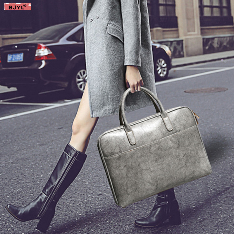BJYL 2019 New Business Women briefcase genuine leather handbags fashion 14 laptop shoulder bags female simple thin section bags