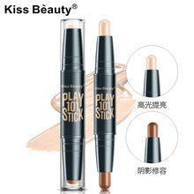 Double Color Concealer Highlights And Bronzer Shadow Grooming Rod Block Defect 3D Carry Bright V Face Lie Brand