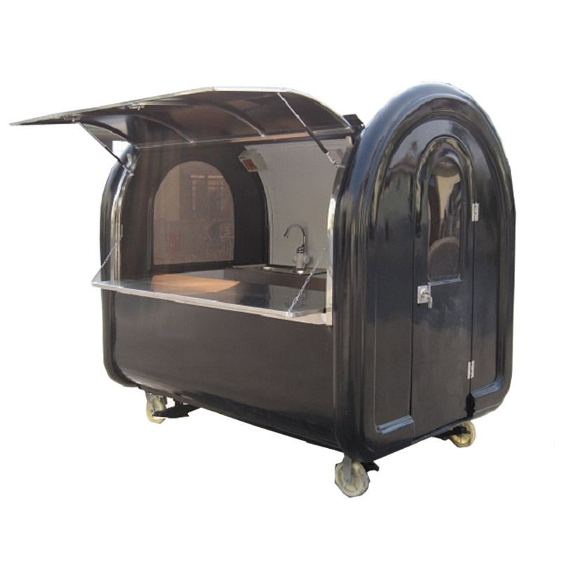 KN-220A 220*160*200cm mobile snack food carts/trailer black color customized for sale with free shipping by sea to seaport