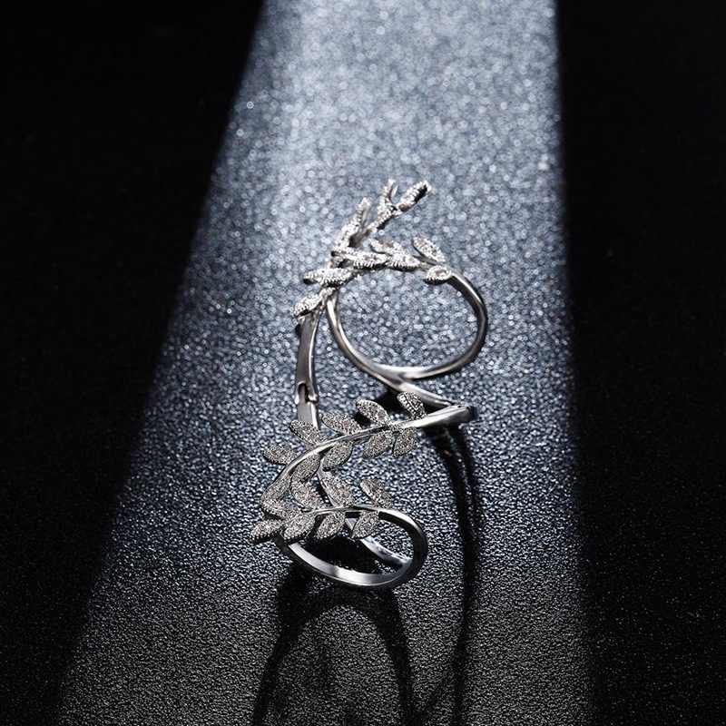 Модные серебряные цвета сверкающие листья медь с цирконом для женщин ювелирные изделия