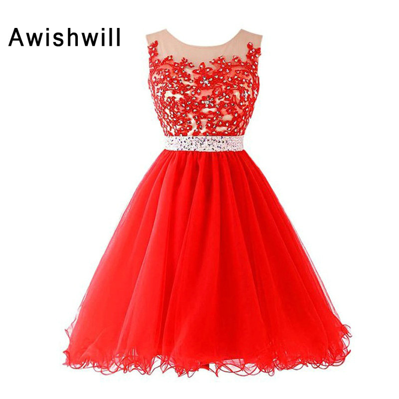 New Arrival Scoop Neckline Lace Rhinestones A-Line Tulle red Color   Cocktail     Dresses   Short Party Homecoming   Dress   2019