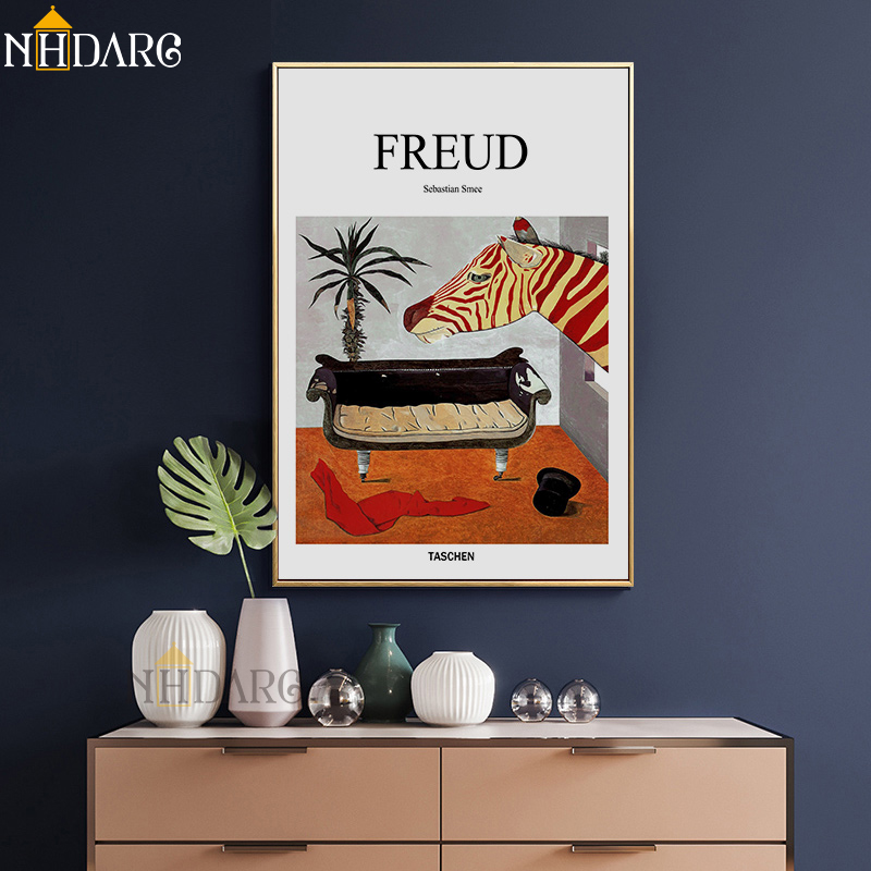 Freud Psychoanalyst Sofa Still Life Posters and Prints Canvas Art Painting Wall Picture for Living Room Hallway Clinic Decor in Painting Calligraphy from Home Garden
