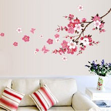 % wholesale beautiful sakura wall stickers living bedroom decorations 739. diy flowers pvc home decals mural arts poster