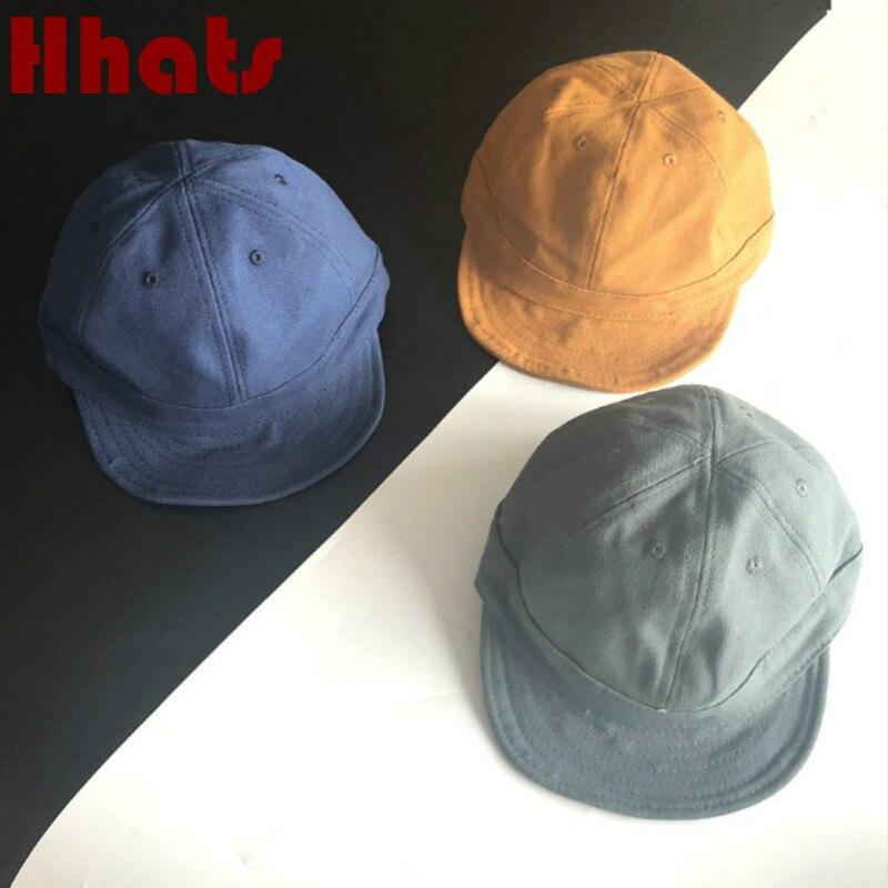 Men Cotton Short Bill Snapback Cute Hip Hop Ball Cap Solid Sport Flat Hat Unisex