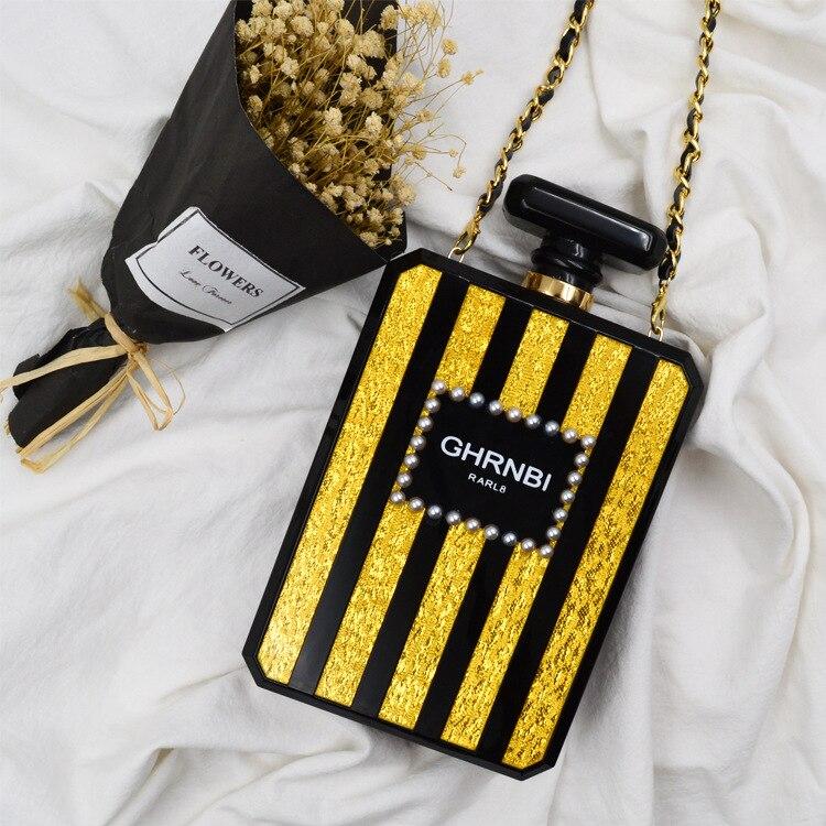 Été femmes parfum bouteille inclinée dame acrylique Mini sac à bandoulière avec chaîne en or soirée sac à bandoulière féminin