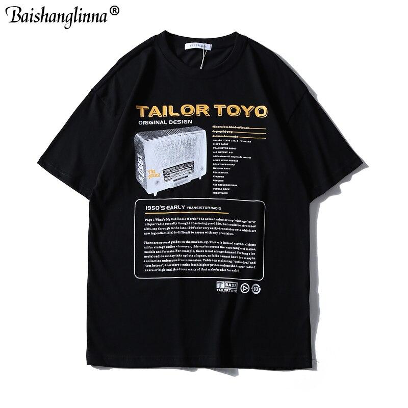 Baishanglinna décontracté décontractés à manches courtes en coton imprimé Harajuku T-shirts Streetwear Hip Hop 2019 T-shirts d'été pour hommes