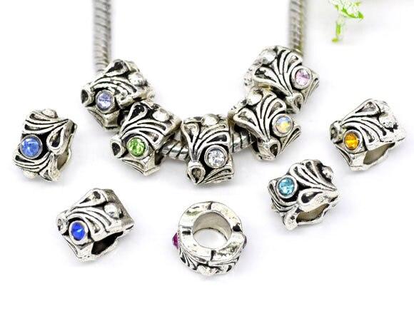 10mm For European//Charm Bracelet Gold//Flower 3 Cloisonne Charm Beads