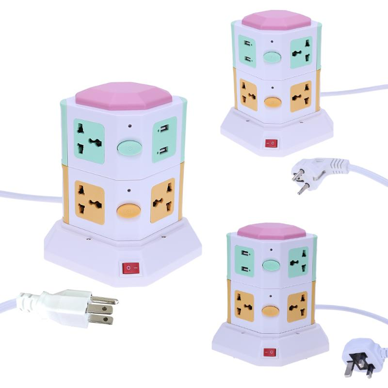 цена на 7Pcs Socket Holes Colorful Electrical Sockets 2 Layer Smart Electrical Plugs Vertical Power Socket Outlet+2 USB Ports US/EU/UK