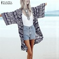 Summer New 2017 Women Floral Print Blouse 3/4 Sleeve Casual Beach Boho Cover Up Kimono Cardigan Long Blusas Tops Plus Size S-6XL