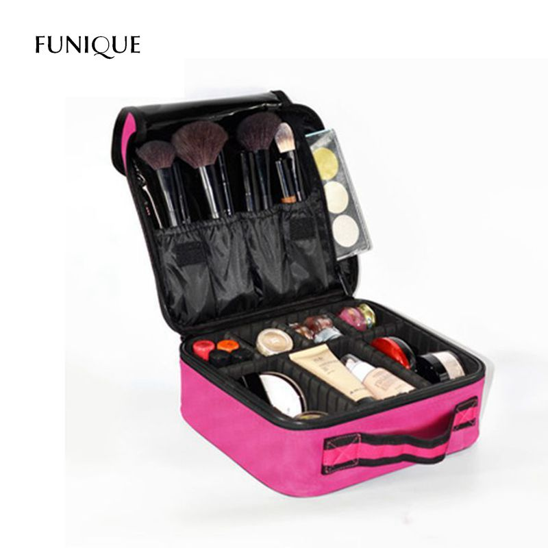 FUNIQUE Storage Compartment Clamshell Cosmetic Bag Tattoo Nail Kit Mini Double Storage Bag Makeup Organizer Storage Case