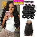 Peruvian Virgin Hair Body Wave With Closure 360 Pre Plucked Lace Frontal With Bundles Cheap Lace Frontal Closure With Bundles