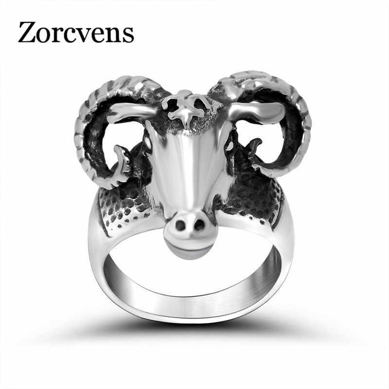 ZORCVENS owiec pierścień fajne zwierząt biżuteria ze stali nierdzewnej pierścień Punk unikalny Heavy Metal biżuteria
