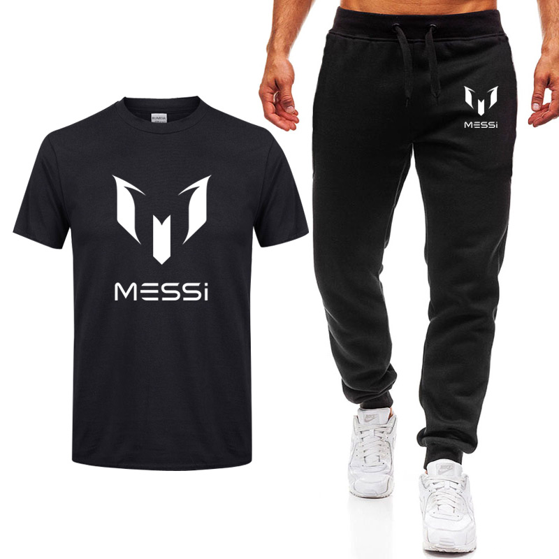 Summer brand 100% cotton tracksuit Barcelona MESSI men   T  -  shirt  +Pants Sets Man casual short sleeve   t     shirts   Plus Size Tops Tee