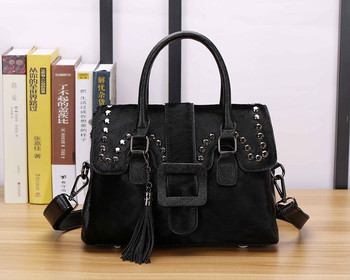 [Telastar] Horse Hair Handbag Fur Bag Woman Shoulder Crossbody Bag Rhinestone Vintage Genuine Leather Bag Wide Strap Tote Bag