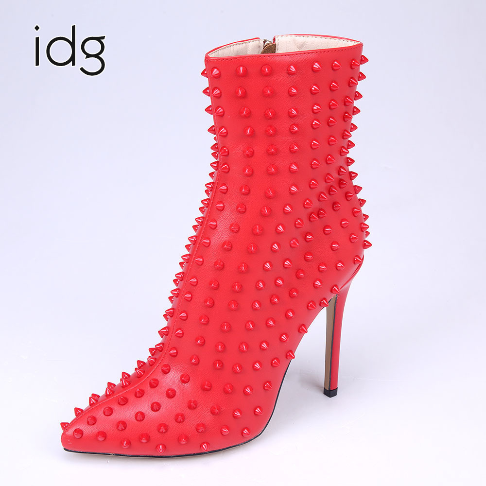 Idg Brand Leather Red Plastic Rivets Personality Decoration High Heels Woman Boots Winter Plus Plush Keep Warm bota feminina idg brand women slip on high heels short rough with the fall and winter metal buckle rivets shoes woman zapatos mujer tacon