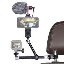 Soporte de brazo mágico de fricción articulada ajustable, pinza para cámaras de acción, micrófono, soporte cabezal para vehículo