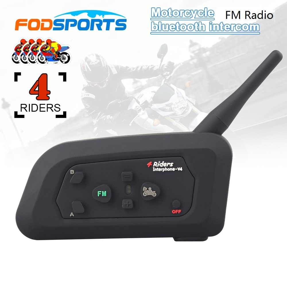 Fodsports V4 casque de moto Bluetooth casque Interphone 4 coureurs 1200M sans fil Intercomunicador BT Interphone FM Radio