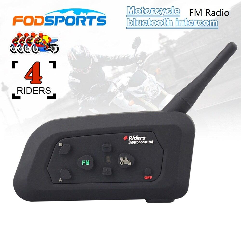 2017 Fodsports V4 Motorcycle Helmet Bluetooth Headset Intercom 4 Riders 1200M Wireless Intercomunicador BT Interphone FM Radio