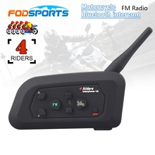 V4 BT 1200M Moto Intercomunicador Bluetooth Auriculares Interphone Interfono with FM Radio for 4 Riders Headset Intercom