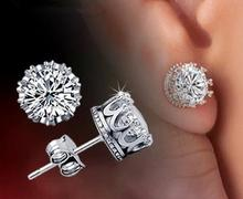 1$ lose money promotion wholesale 925 sterling silver crown ladies`stud earrings jewelry gift