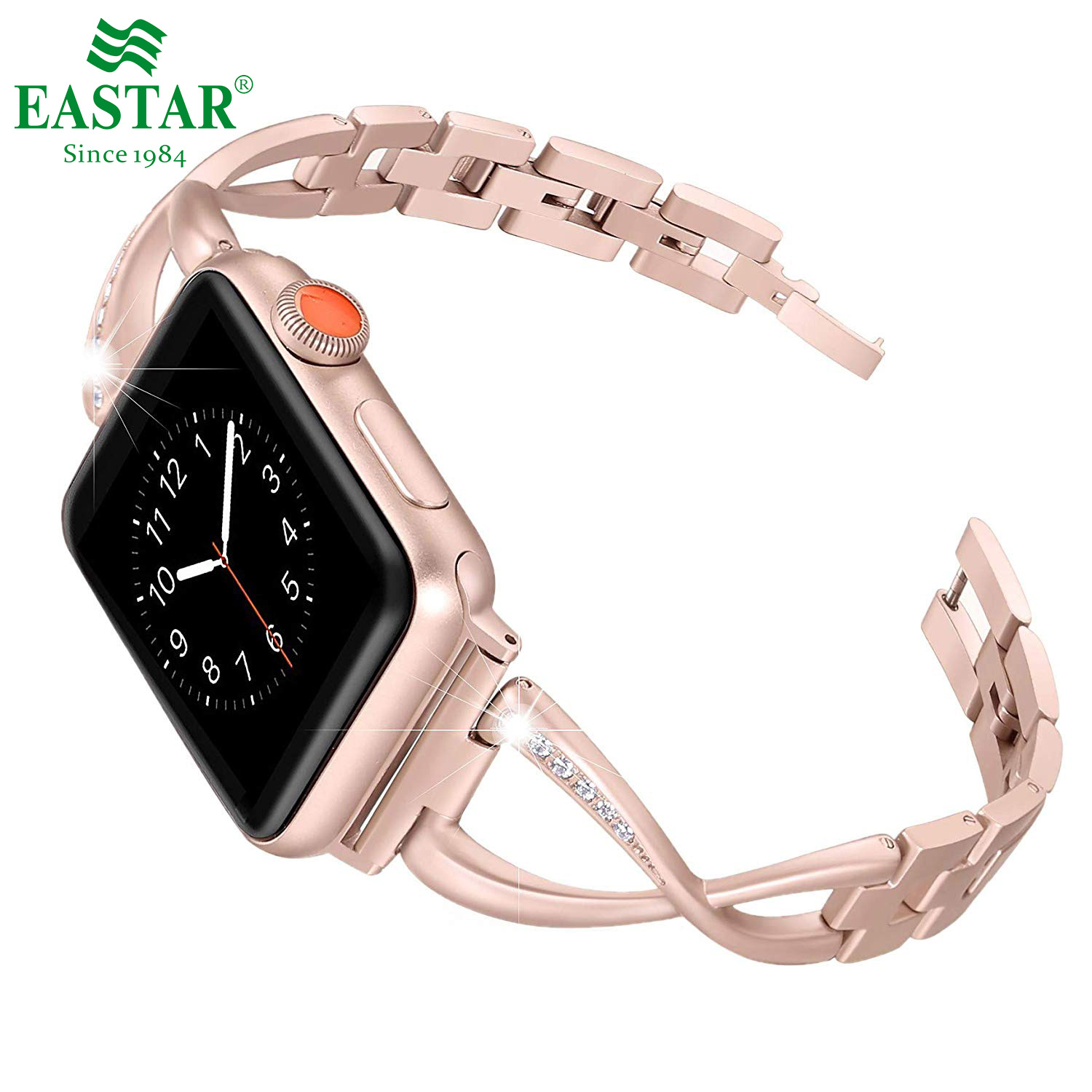 Eastar Women Watch Band For Apple Watch Bands 38/42mm 40/44mm Diamond Aluminum Alloy Strap For Iwatch Series 4 3 2 1 Bracelet