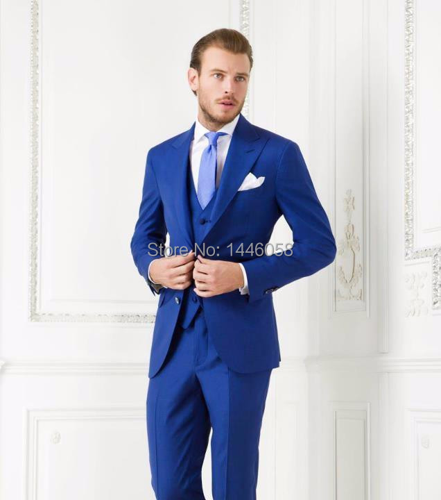 Custom 2017 Two Button Royal Blue Wedding Tuxedos Peak Lapel Groom Suit Groomsmen (Jacket+Pants+Vest) Wedding Suits Men Suits