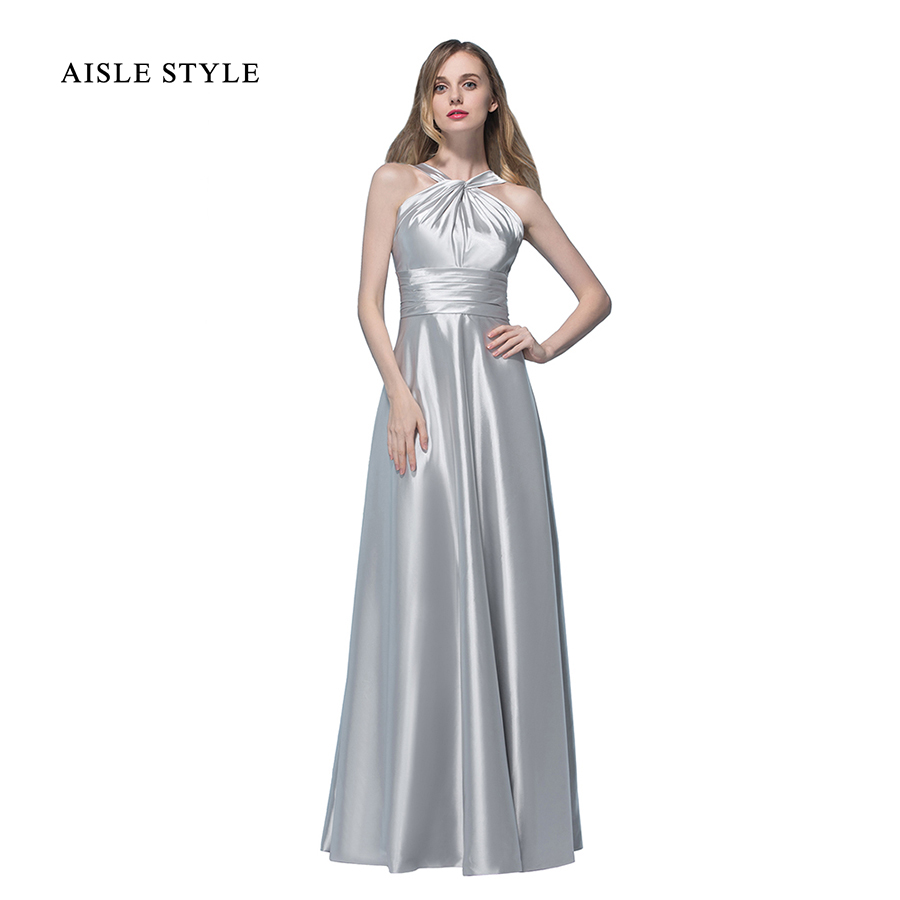 Online get cheap silver satin dresses bridesmaid aliexpress aisle style new arrival 2017 winter wedding bridesmaid dresses for women long halter sleeveless satin bridesmaid dress in silver ombrellifo Image collections