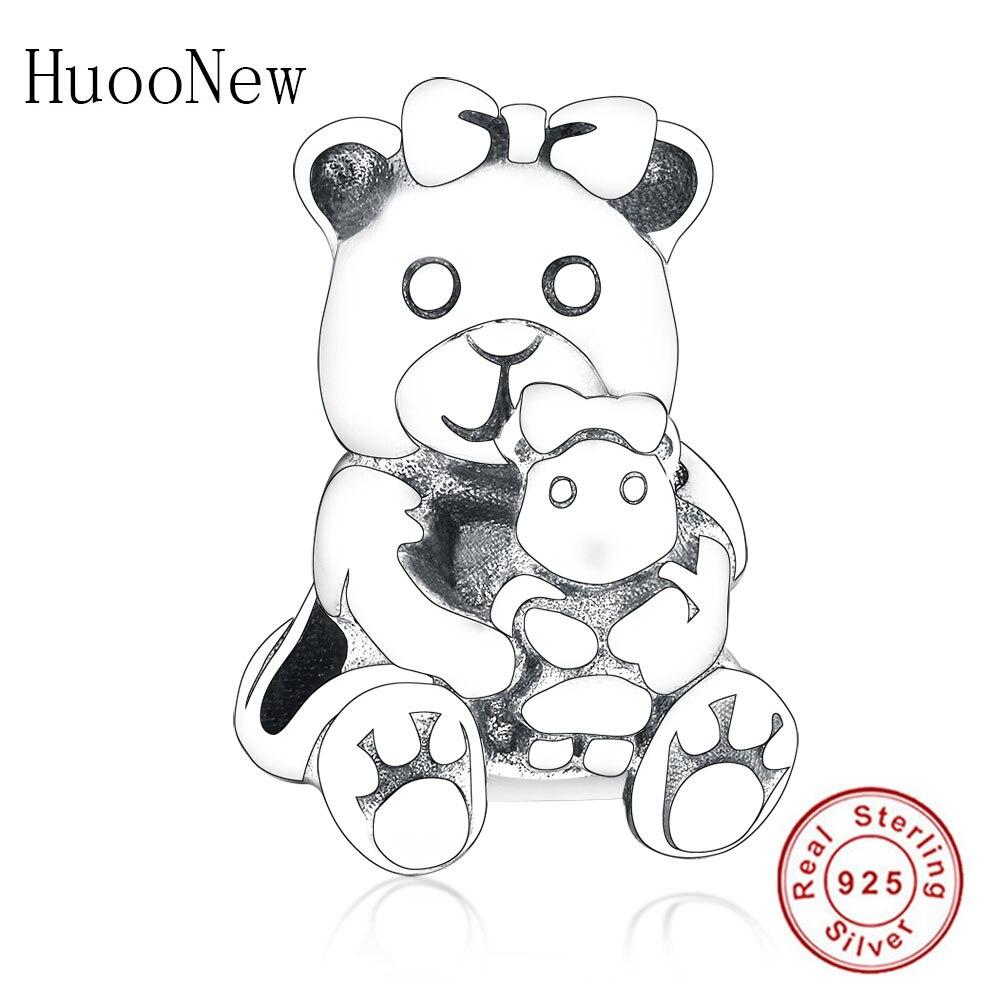 Cute Animal Bear Charms Fit Original Pandora Charm Bracelet Pendant 925 Sterling Silver Love Beads DIY Jewelry Berloque