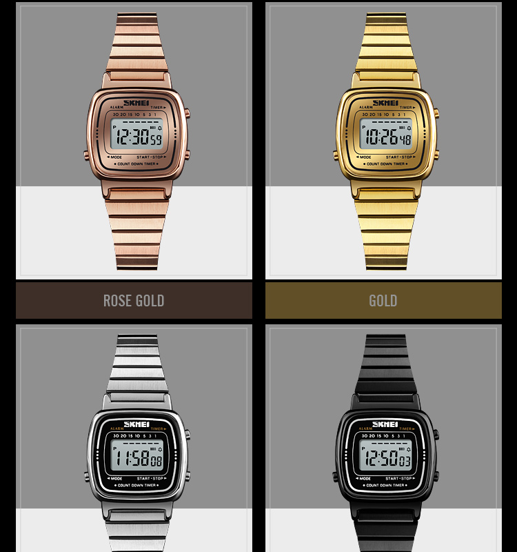 f183ac6cf Compre SKMEI Relógio Digital De Ouro Das Mulheres Dos Homens ...