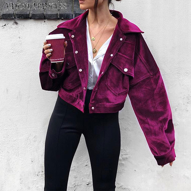 HITOM PRINCESS Corduroy Single Breasted Jackets Women Basic Coat High Street Warm Winter Coat Female Boyfriend Cool Fall Jacket 1