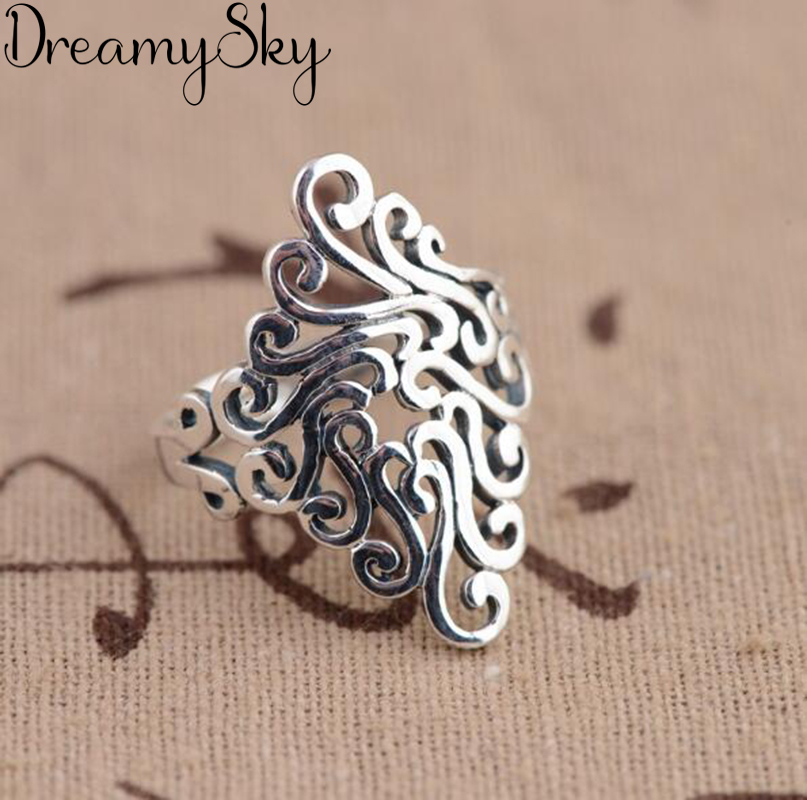 Korean Style New Silver Color Large Rings For Women Wedding Jewelry Statement Adjustable Retro Ring Anillos Anelli 1