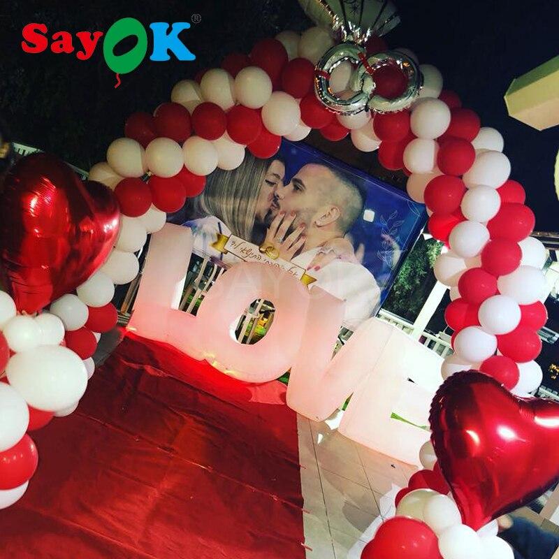 3,1x1,2 м гигантские надувные любовные буквы светодиодный Романтический День Святого Валентина вечерние украшения надувной игрушечный мяч