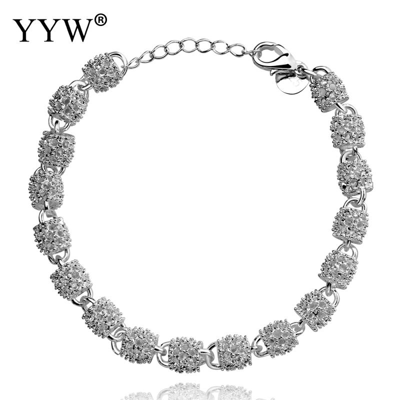 YYW European Women Wedding Bridal Statement Jewelry Chain <font><b>Bracelet</b></font> <font><b>Silver</b></font> Color Plated <font><b>Tube</b></font> Drum Links Wristband <font><b>Bracelets</b></font> image