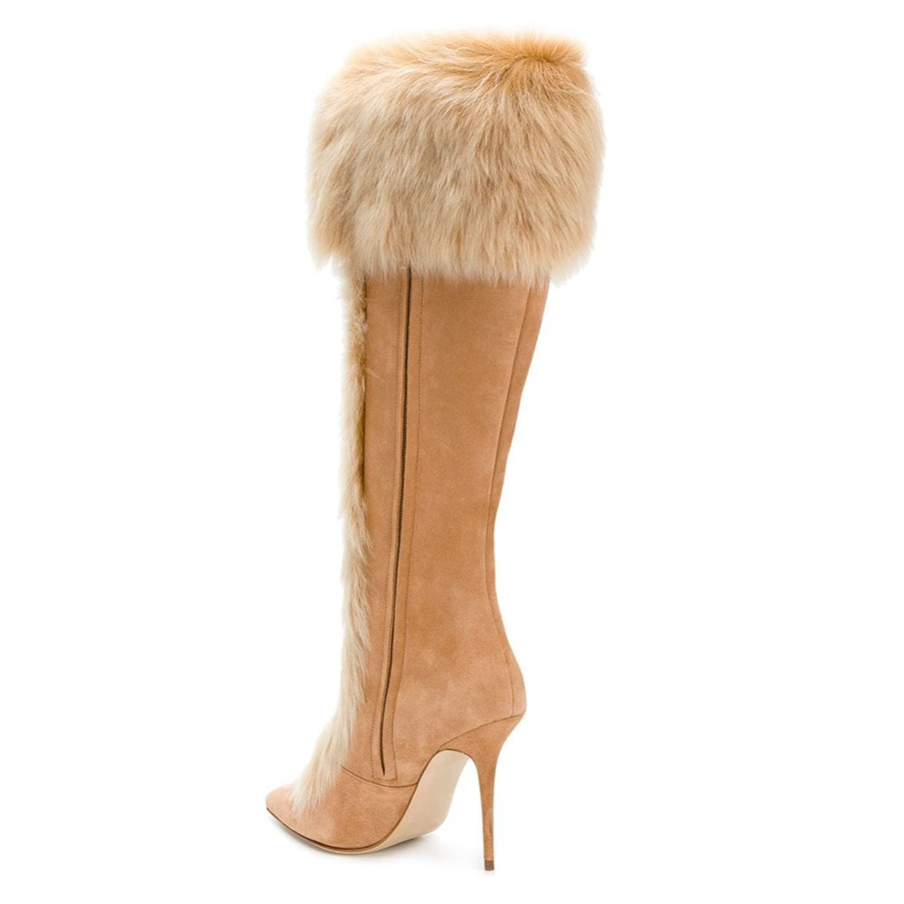 Suede Mujeres Aiyoway Cremallera Shearling Completa De Nuevas Señoras Faux Calientes Rodilla Señalaron Alto Botas Zapatos Tacón Invierno Toe SP5qPg4Ww