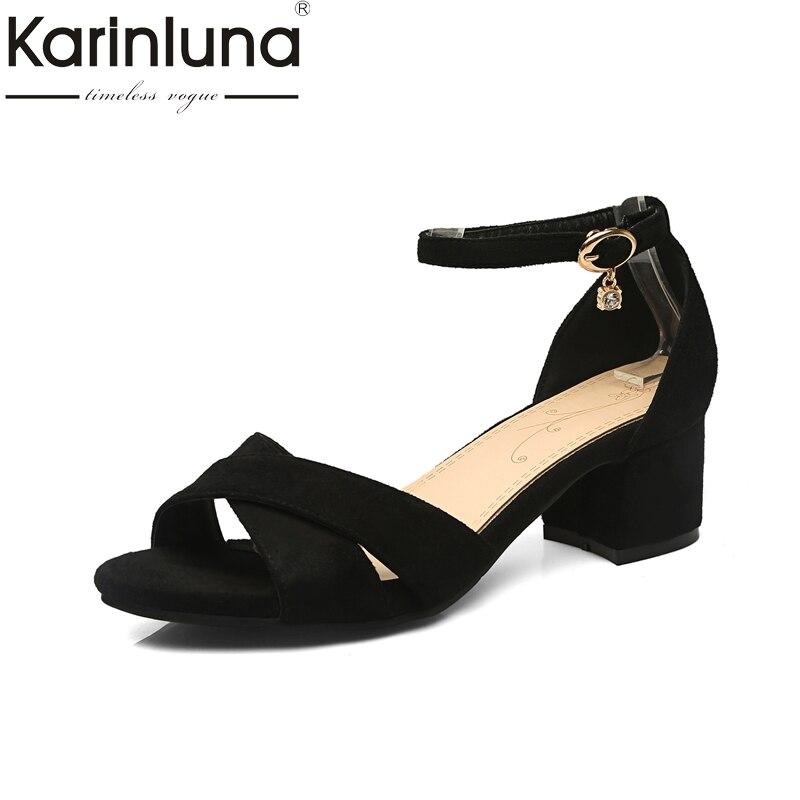 Karinluna 2018 Summer ON Sale Plus Size 31-47 Concise Women Shoes Woman Black Ankle-Strap Sandals Women sandal shoes