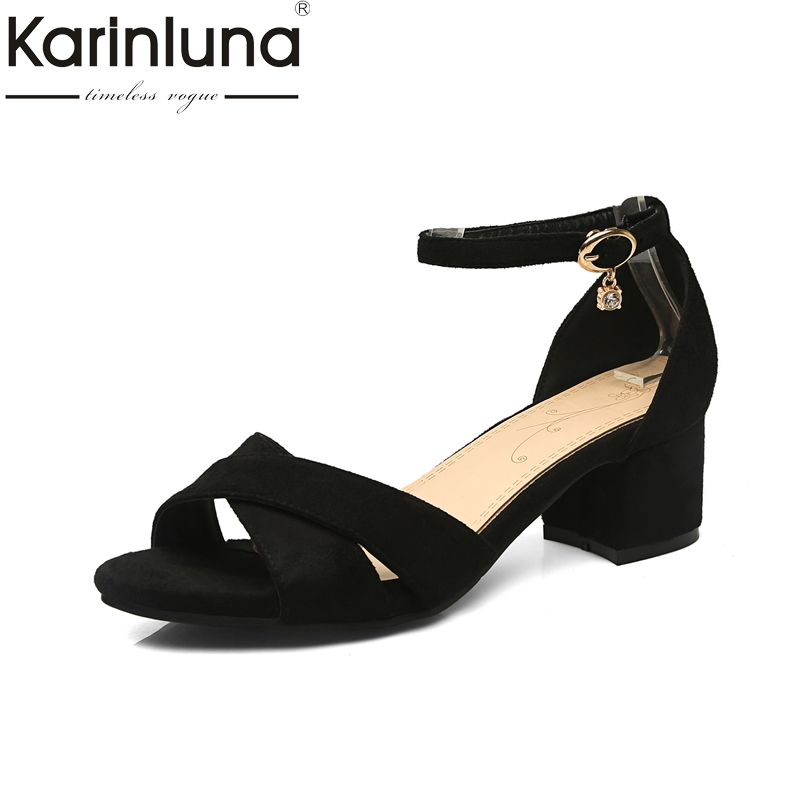 Karinluna 2018 Summer ON Sale Plus Size 31-47 Concise Women Shoes Woman Black Ankle-Strap Sandals Women sandal shoes