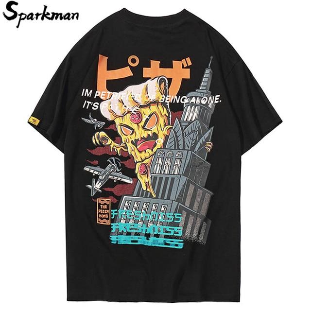 Summer 2018 Mens Hip Hop Tshirt Japanese Cartoon Devil Printed Retro T Shirts Streetwear Casual T-shirt Tops Tees Short Sleeve