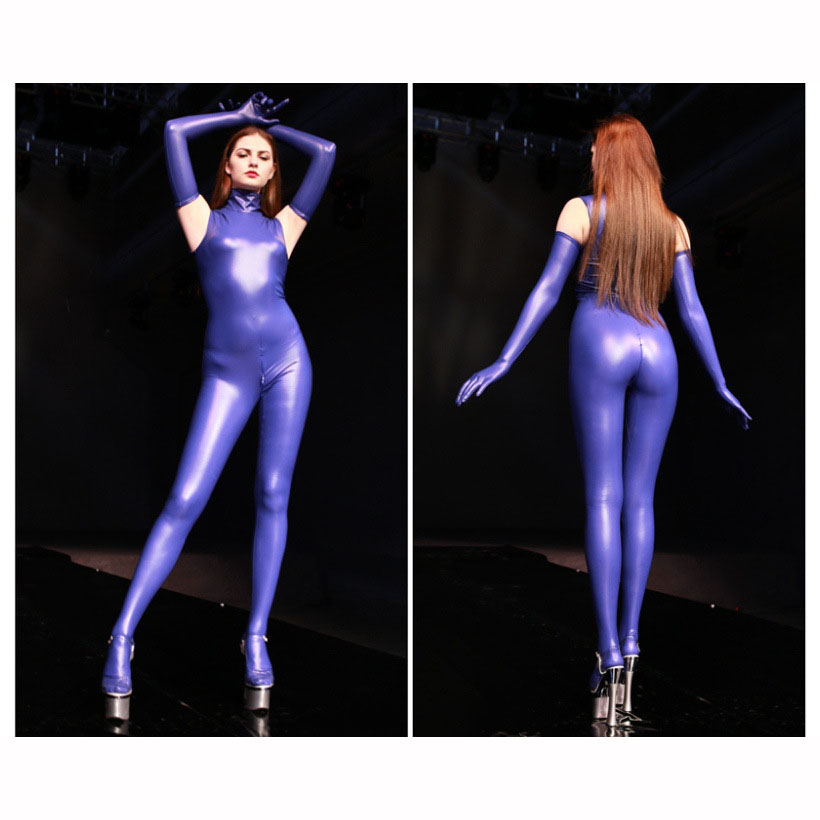 Original Design New Hot Sexy Latex Jumpsuit Women Sleeveless Turtleneck Rompers Cosplay Stage Shows Sculpting Bodysuit