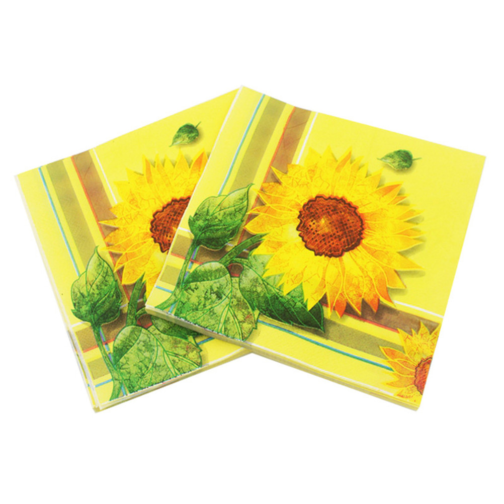 20pcs Sunflower Paper Napkin Flower Para Festas & Party Supply Tissue Decoupage Servilleta For Birthday Party Shower 16.5*16.5cm