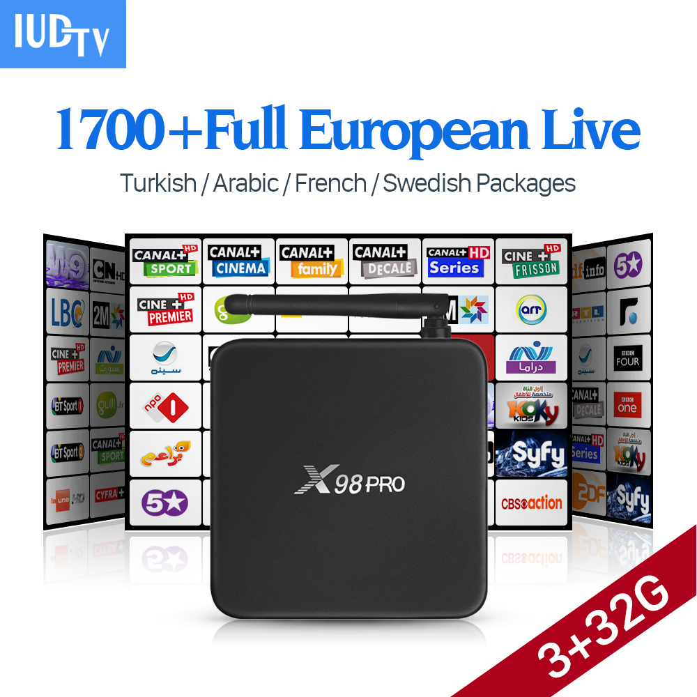 X98 PRO 4K Canal Plus French Italian Arabic IPTV Box IUDTV Subscription Europe Sweden IPTV Channels