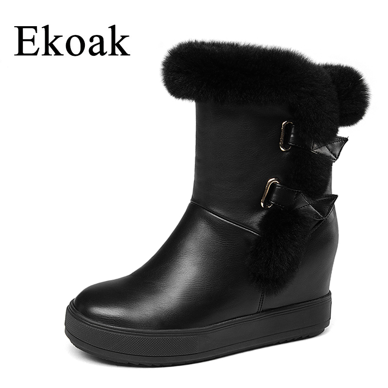 Ekoak Winter Women Boots Rabbit Fur Snow Boots Warm Plush Ankle Boots Height Increasing Platform Shoes Woman Leather Boots zorssar 2017 new classic winter plush women boots suede ankle snow boots female warm fur women shoes wedges platform boots