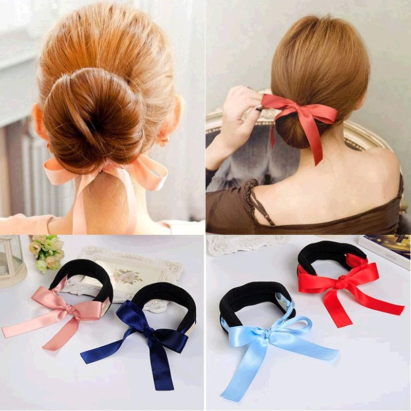 Silky Ribbon Bow Big & Small Size Black Sponge Hair Styling Tools Device Headbands Hair Ties Accessories for Girl Women Headwear