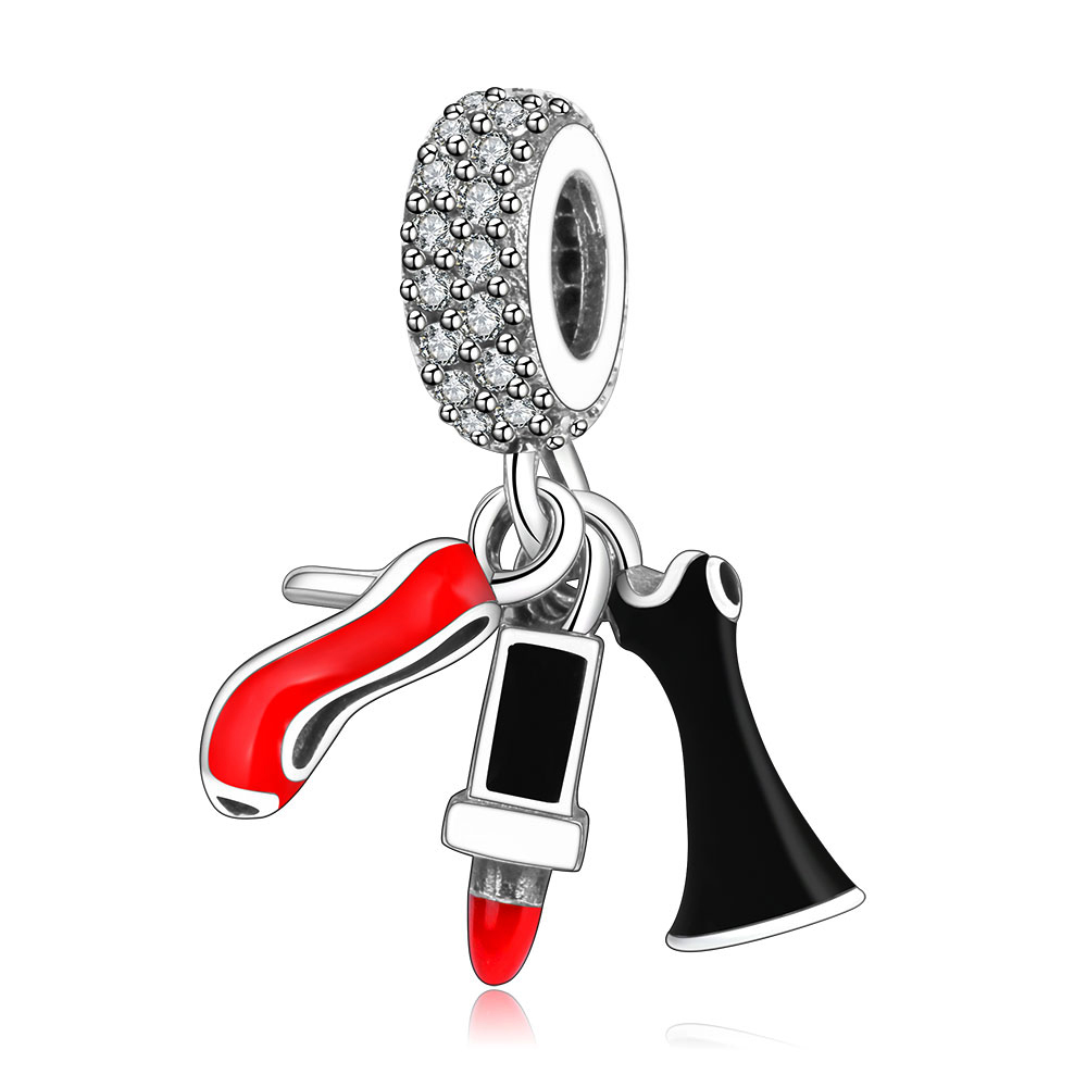 Lipstick Shoes Skirt Dangle Charms With Mix Enamel Cz Fit