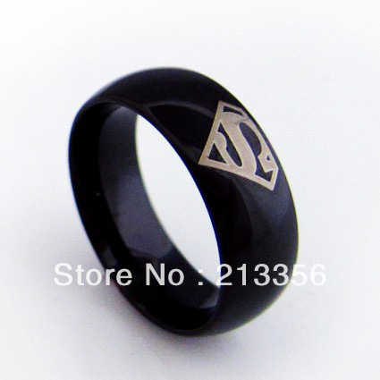 usa hot selling ec tungsten jewelry cool mens tungsten carbide rings new black superman the lord one ring - Superman Wedding Ring