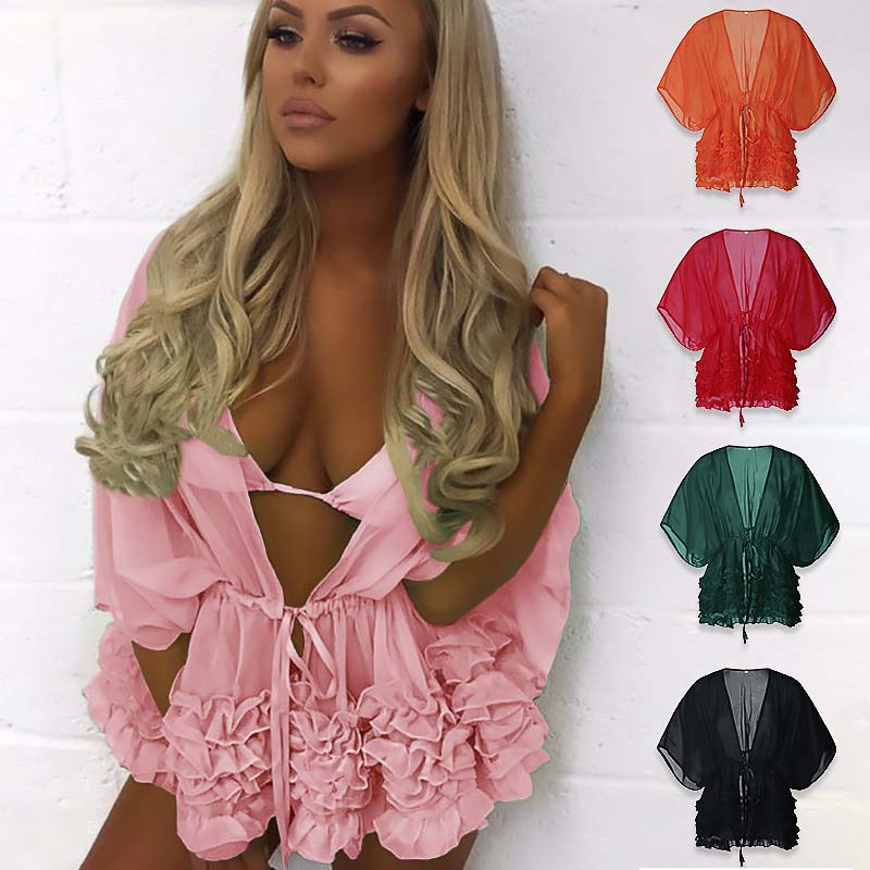 2019 Women Ruffles Beachwear Swimwear Bikini Cover Up Kaftan Ladies Summer Sunscreen Mini Sundress Beach Cover-Up 2XL Swimsuit