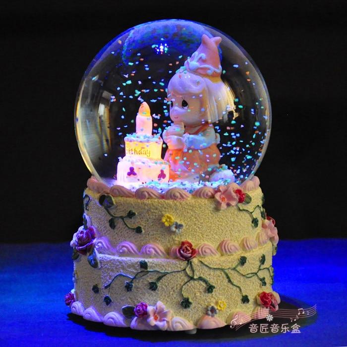 Birthday Gift Wishing Lamp Girl Crystal Ball Music Box Lovers